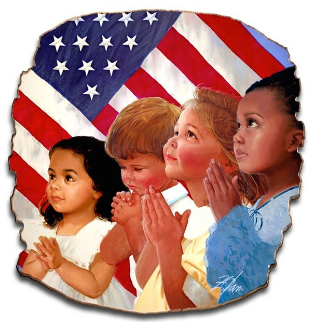 """Faith in America""--- 18x18 Tattered Birch Wood Print"