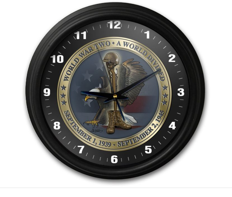 """WW II  TRIBUTE  CLOCK"""