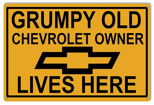"""GRUMPY OLD CHEVROLET OWNER""  METAL SIGN"