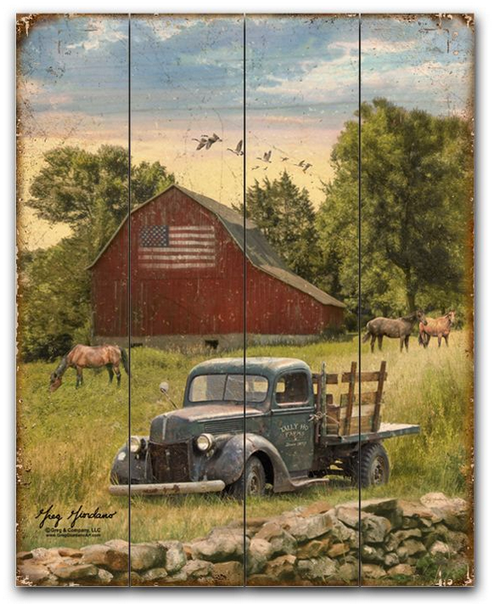"""""""Truck and Barn""""-- 12""""x15""""  Planked Wood Sign"""