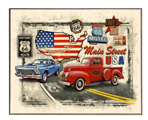 """ROUTE  66""  BIRCH  WOOD  PRINT"