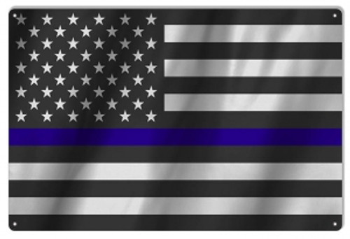"""""""United States Police Officers Flag""""  12x18 Metal Sign"""