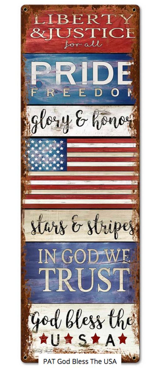"""PATRIOTIC GOD BLESS THE USA""  METAL  SIGN"