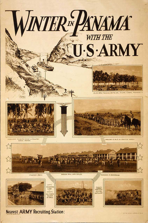 """Winter in Panama With the U.S. Army"" recruitment poster METAL SIGN"