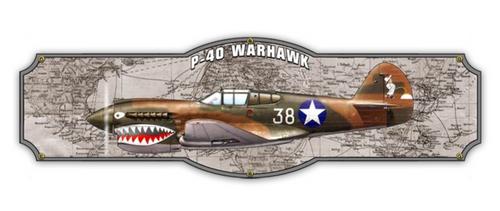 "P-40  WARHAWK  METAL SIGN--24"" by 7"""