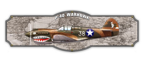 "P-40  WARHAWK  METAL SIGN--24"" by 7"""