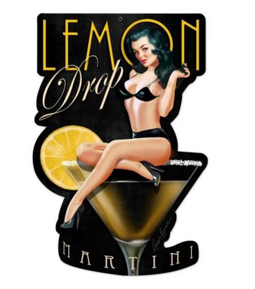 """""""LEMON  DROP  MARTINI""""  METAL SIGN"""