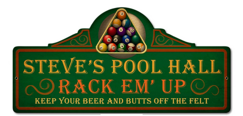 PERSONALIZED  POOL  HALL  METAL SIGN