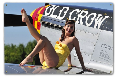 PIN-UP ON A P-51 MUSTANG PLANE--METAL SIGN