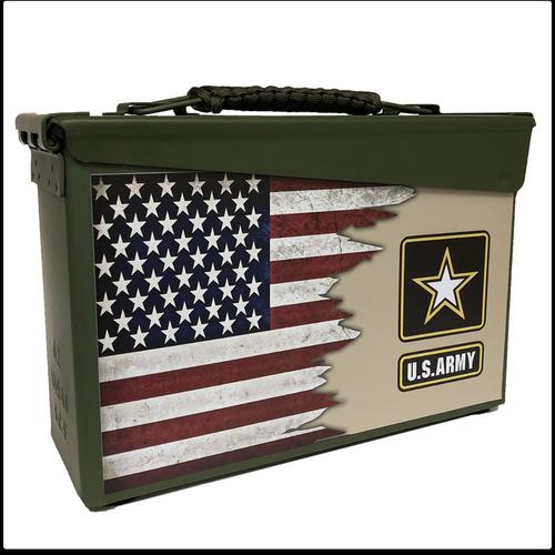 DUAL US and US Army Flag Custom Metal Box