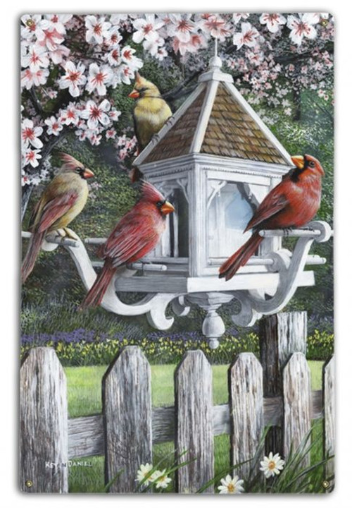 """A VISIT FROM THE CARDINALS""  METAL  WALL  ART"