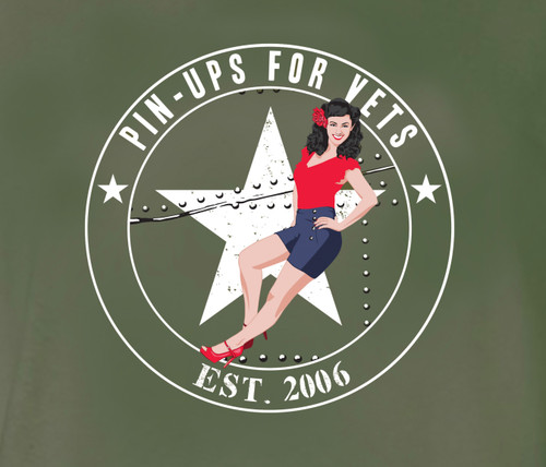 Pin-Ups For Vets Shirt (GREEN)  (sizes M to 4XL )