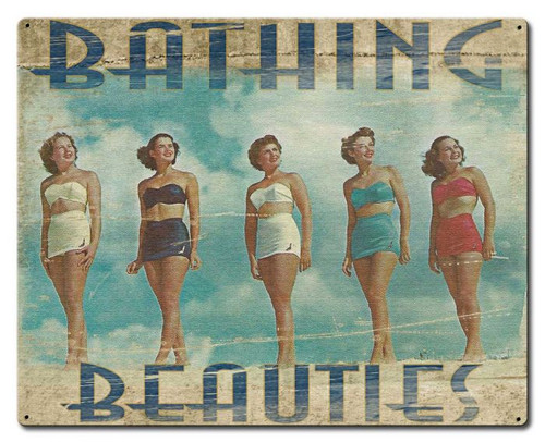 """BATHING BEAUTIES""   VINTAGE  METAL SIGN"