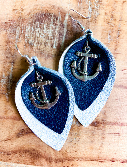 Anchors Away Leather Leaf Earrings