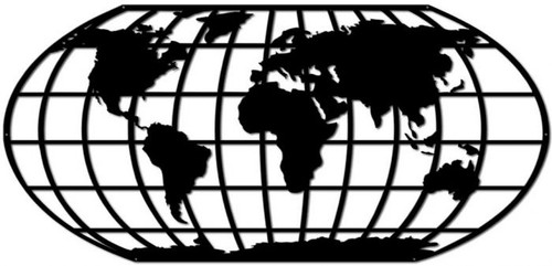AMERICAN  STEEL CUT-OUT  MAP OF THE WORLD --LARGE.