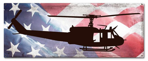 HUEY  HELICOPTER  PROFILE  ON  AMERICAN FLAG--- METAL SIGN