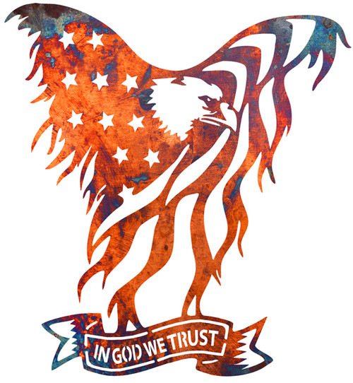 American Eagle Carries  In God We Trust --Laser Cut Out Faux Copper Finish