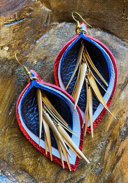 American Fireworks Triple-Layer Leather Leaf Earrings