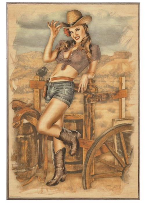 COWGIRL --12 BY 18 BIRCH WOOD PRINT