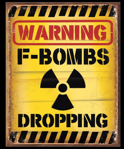 F-BOMBS  DROPPING ---METAL SIGN