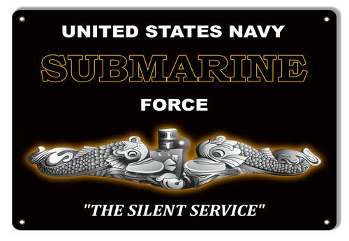 USN  SUBMARINE  FORCE ----METAL  SIGN