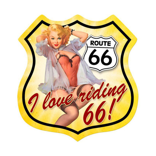 """""""ROUTE  66   PIN-UP""""   VINTAGE METAL SIGN"""