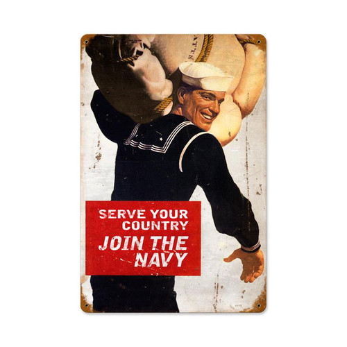 """""""SERVE  YOUR  COUNTRY""""  VINTAGE METAL SIGN"""