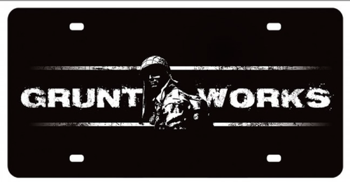 """GRUNT  WORKS""  METAL LICENSE PLATE"