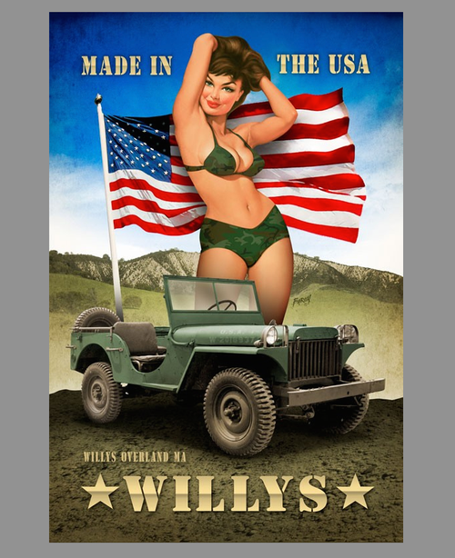 """""""WILLY'S  PIN-UP""""  METAL SIGN"""
