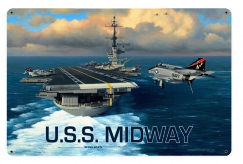 """""""USS  MIDWAY""""  METAL  SIGN"""