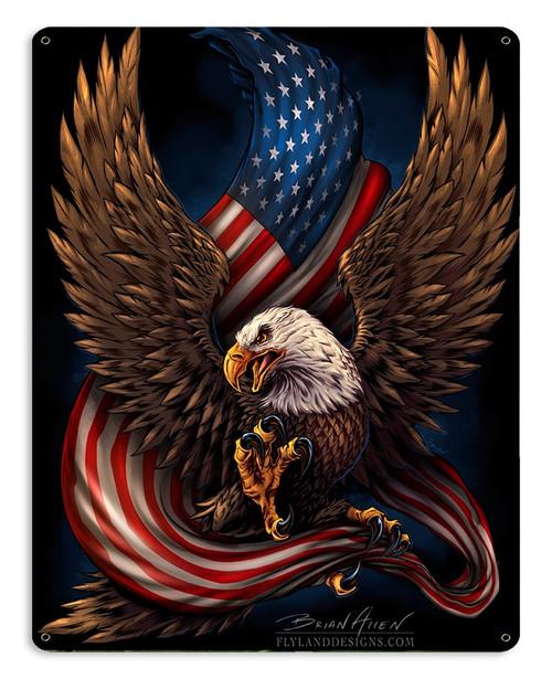 """EAGLE  AND  U.S. FLAG""  METAL SIGN"