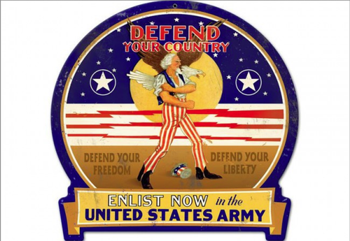 """""""DEFEND  YOUR  COUNTRY--U.S. ARMY""""  METAL  SIGN"""
