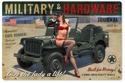 """MILITARY  HARDWARE""  Willys METAL  SIGN"