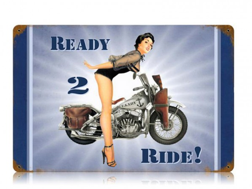"""""""NAVY  READY  TO  RIDE""""  METAL  SIGN"""