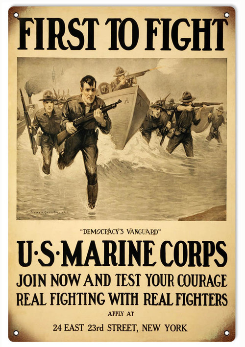 """""""U.S. MARINE CORPS VINTAGE RECRUITING POSTER""""  METAL SIGN"""