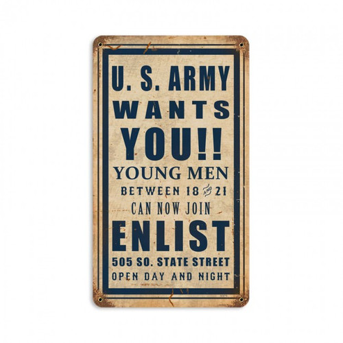 """""""ARMY  WANTS  YOU""""  METAL  SIGN"""