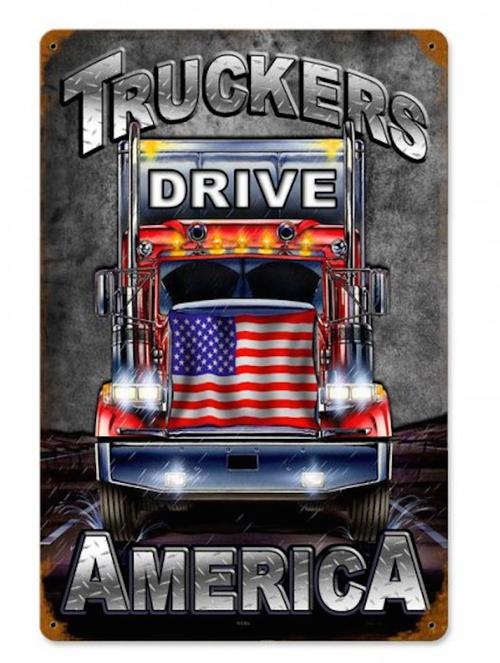 """TRUCKERS  DRIVE  AMERICA""  METAL  SIGN"
