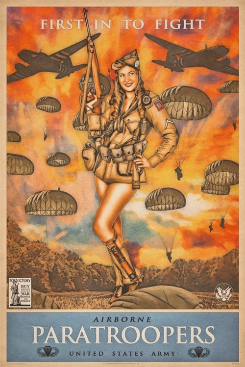 """""""AIRBORNE PARATROOPERS""""  PIN-UP  METAL  SIGN"""