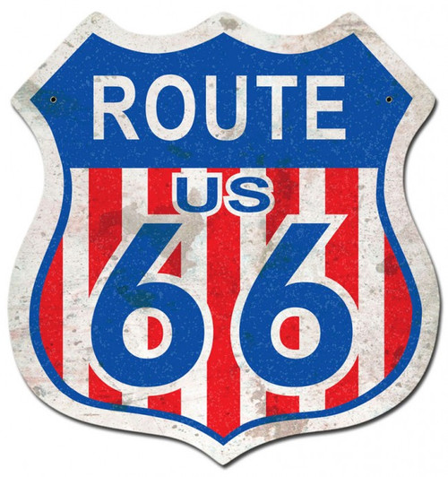 """""""ROUTE 66""""  RED, WHITE, AND BLUE  METAL  SIGN"""