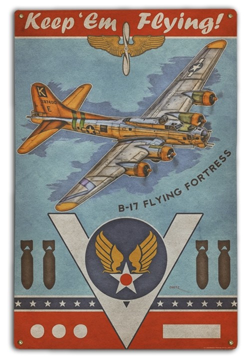 """""""B-17 FLYING FORTRESS""""   METAL   SIGN"""