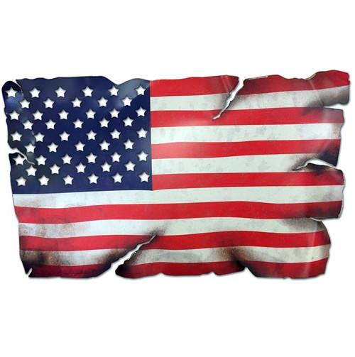 """TATTERED  AMERICAN  FLAG""   METAL WALL ART"