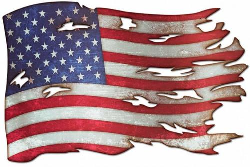 """WAR TORN  AMERICAN  FLAG""   METAL WALL ART"