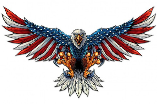 """Eagle With US Flag on Wings  Spread-- 29"" by 18"" Metal Sign"