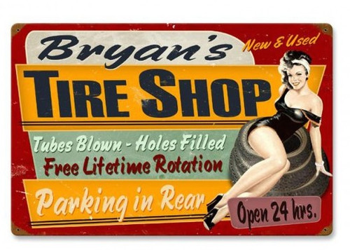 """PERSONALIZED  TIRE SHOP""  VINTAGE   METAL  SIGN"