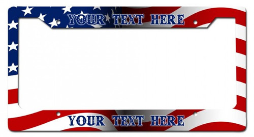 """US Flag""-- Personalized License Plate  Frame"