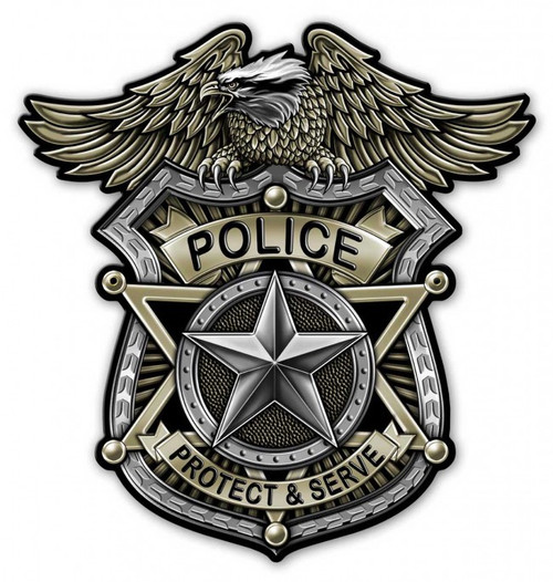 """POLICE  BADGE""  METAL  SIGN"