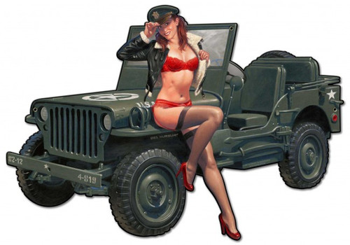 """Willys  Overland  Jeep & Pin-Up""  Metal  Wall  Art"