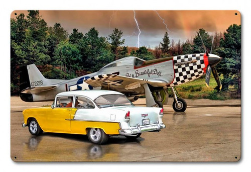 """Mustang  Plane and Chevy""  Metal  Sign"