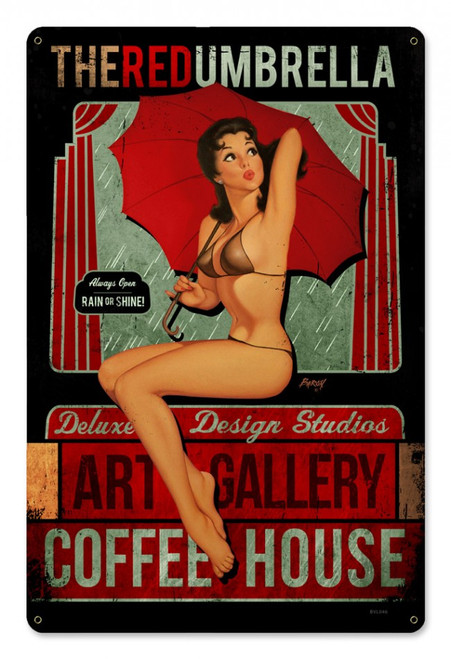 """Red Umbrella Coffee House""  METAL  SIGN"