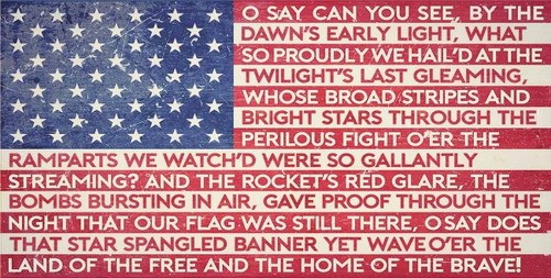 """""""American Flag With Our  National Anthem  Lyrics""""  Metal  Sign"""